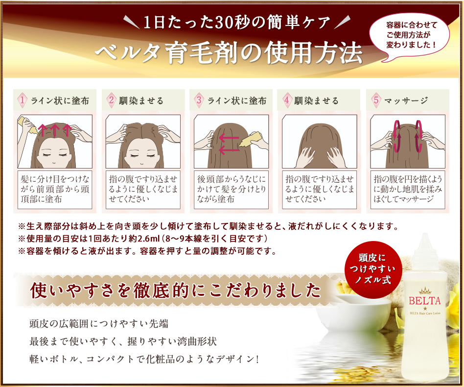 ベルタ育毛剤の使用方法